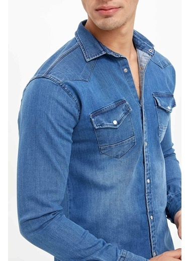DeFacto Çift Cepli Jean Gömlek Mavi